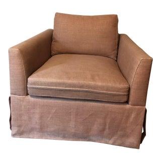 21st Century Vintage Jute Brown Slipcover Swivel Chair For Sale