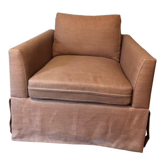 21st Century Vintage Jute Brown Slipcover Swivel Chair For Sale