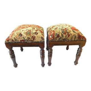 Antique Kirman Laver Rug Stools - A Pair For Sale