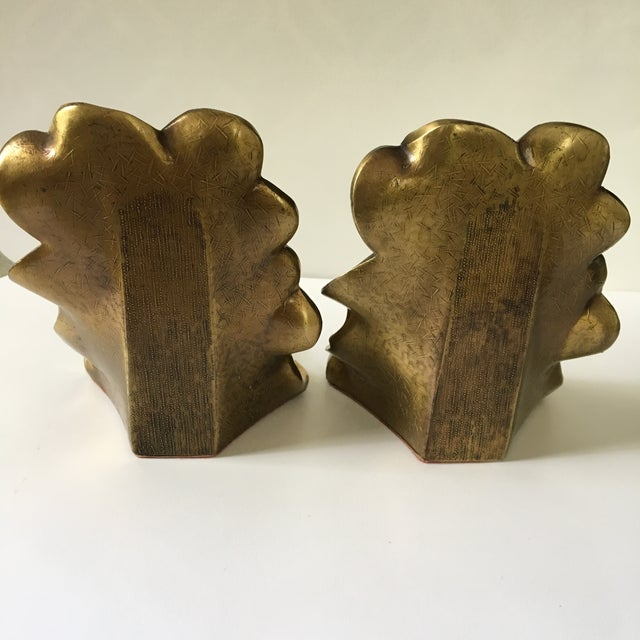 1960s 1960s Art Deco Brass Dogwood Bookends - a Pair For Sale - Image 5 of 9