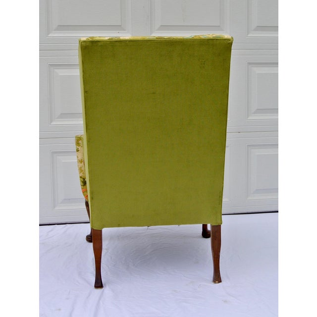 1950s Vintage Mid Century Botanical Print Wingback Chair For Sale - Image 5 of 13