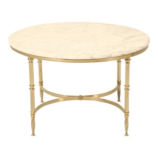Mid-Century Modern French Round Coffee Table in Brass and Marble