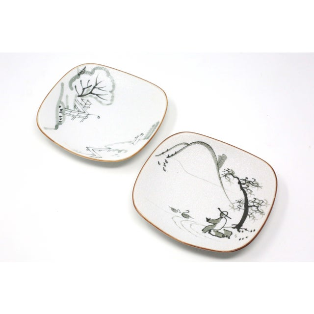 Hand-Painted Fishermen Trinket or Snack Dishes - a Pair For Sale - Image 10 of 10