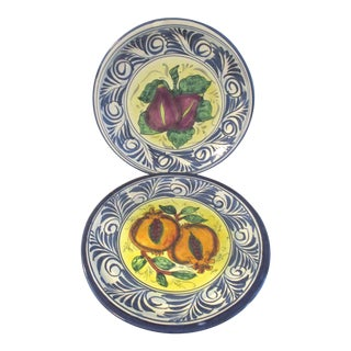 1980s Talavera Hand-Painted Display Plates, a Pair For Sale