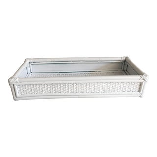 1990s White Bamboo Bathroom Tray For Sale