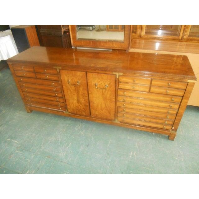 Lane Furniture Burl Maple Triple Dresser & Mirror - Image 4 of 8