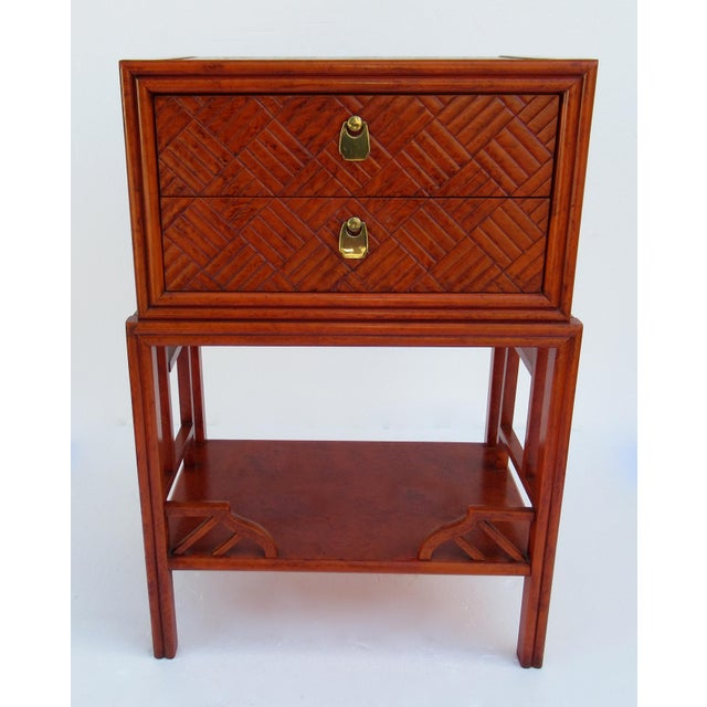 Vintage: C.1970s, a 2-drawer, Chinoiserie style, orange lacquered, over solid wood, and well built...