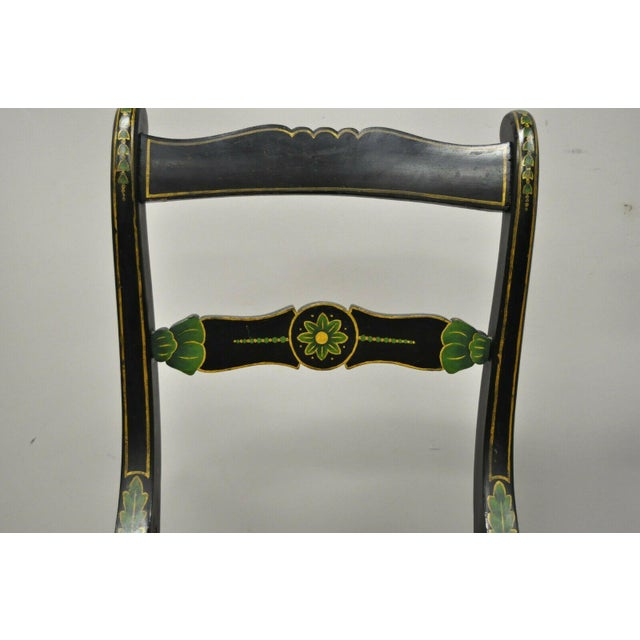 Traditional 19th Century Antique Hitchcock Style Black Hand Painted Rush Seat Side Chairs - a Pair For Sale - Image 3 of 12