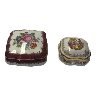 1970s French Limoges Trinket Boxes - a Pair For Sale