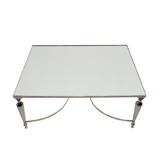 Early 21st Century Cakra Contemporary Rectangular Accent Coffee Table, Metal Center Table, Living Room, Mirrored Top- Nickel Plating For Sale - Image 5 of 8