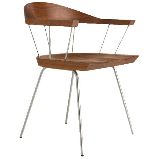 Walnut & Nickel Spindle Chair - Image 1 of 2