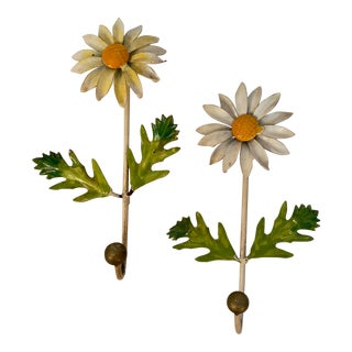 1960s Italian Tole Enamel Daisy Wall Hooks - a Pair For Sale