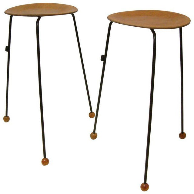 Tony Paul Tempo Group #800 Birch & Enameled Steel Stacking Tables - A Pair For Sale - Image 11 of 11