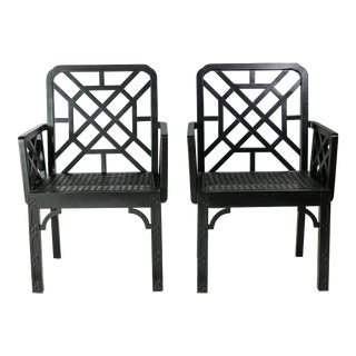 1980s Vintage Madcap Cottage Black Chinoiserie Fretwork Chairs-a Pair For Sale