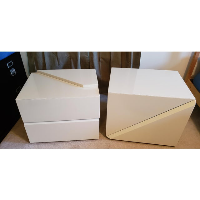 Rougier Cream Colored Lacquered End Tables - A Pair For Sale - Image 12 of 12