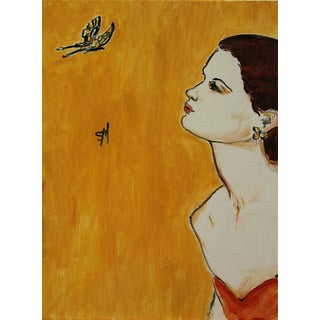 """Contemporary Sarah Myers """"Woman With Butterfly"""" Acrylic Painting For Sale"""