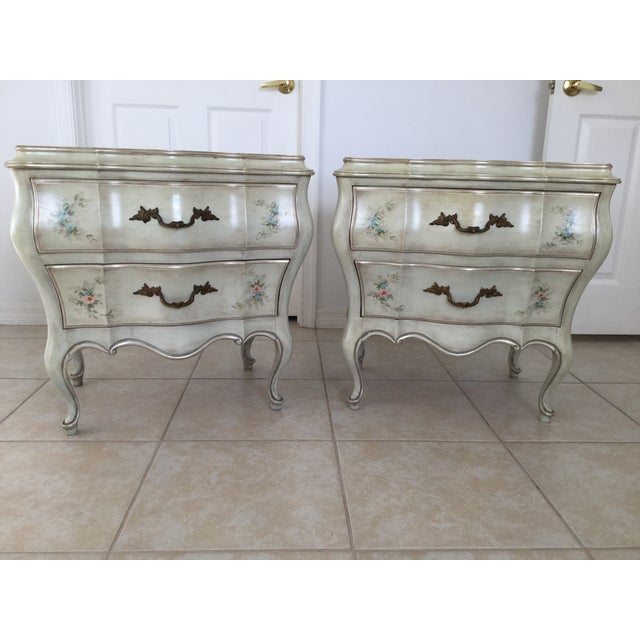 Louis XV Painted French Style Bombe Chests - a Pair - Image 6 of 9