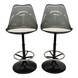 Mid Century Modern Smoked Lucite Swivel Barstools- A Pair For Sale