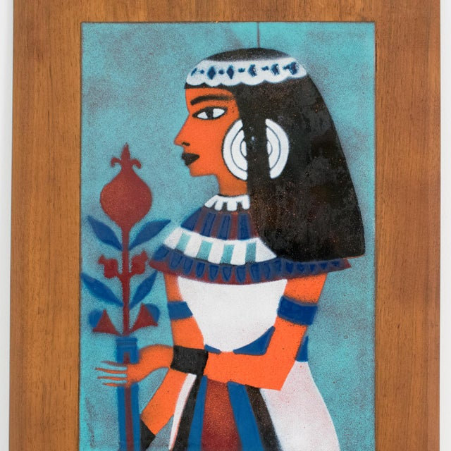 Judith Daner Midcentury Enamel on Copper Artwork Wall Panel Egyptians, a Pair For Sale - Image 4 of 13