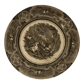 Mid 19th Century Brown & White Transferware Plate For Sale