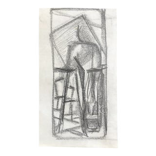 Mid-Century Modern Abstract Drawing C. 1950 For Sale