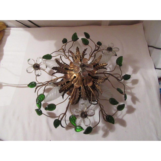 A stunning french authentic mid century Maison Bagues Gilt Metal and Crystal Petal/ Flower ceiling mount fixture. 6 lights.