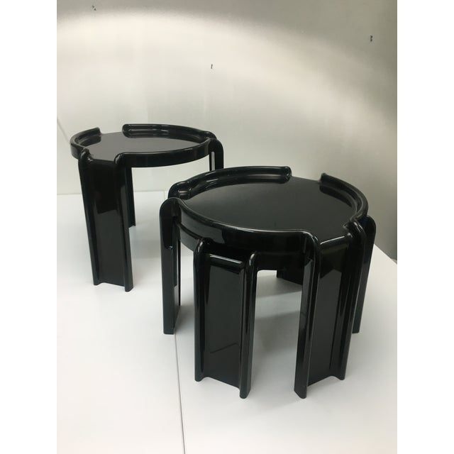 Modern Vintage Black Plastic Nesting Tables by Giotto Stoppino for Kartell - Set of 3 For Sale - Image 3 of 13