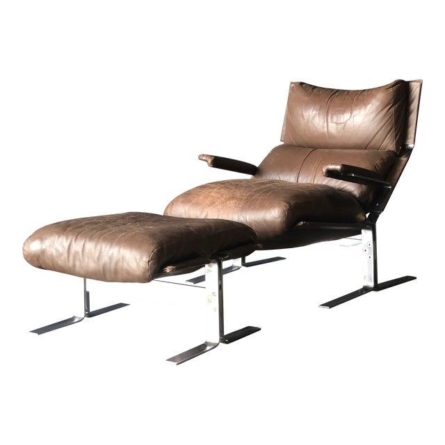 Westnofa Siesta Leather Chair & Ottoman For Sale