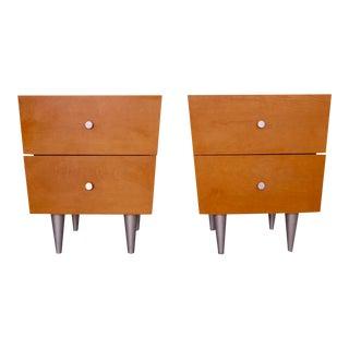Huppe Mid-Century Modern Maple Nightstands - a Pair