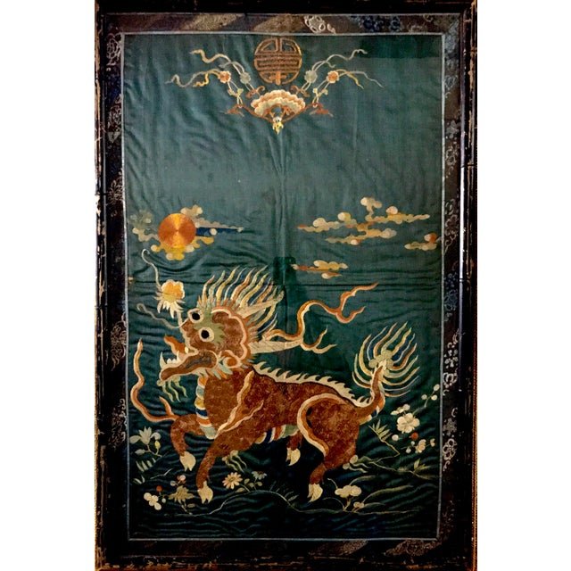 This 18th-19th Century Qing Dynasty Imperial Chinese silk embroidery tapestry exquisitely decorated with a smiley Foo Dog...