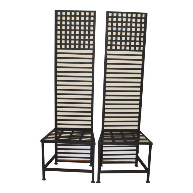 1990s Vintage Brutalist Metal Chairs- A Pair For Sale