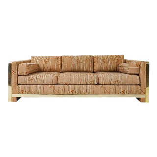 Milo Baughman Style Sofa with Brass Plated Details