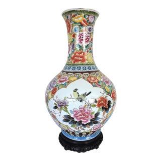 "Large Oriental Gold/Floral Hand Painted Vase H22"""