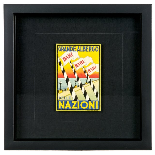 Framed Vintage Hotel Luggage Label - Nazioni - Image 1 of 2