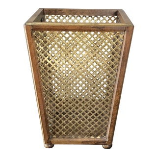 Vintage Florentine Walnut Gilt Metal Wastebasket For Sale