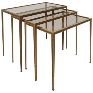 Set of Three Münchner Werkstätten Brass and Glass Nesting Tables For Sale