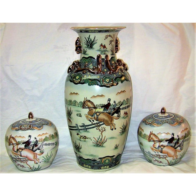 Early 20c Chinese Hunt Scene Floor Vase and Lidded Urns For Sale - Image 13 of 13