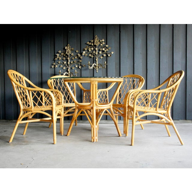Franco Albini Boho Chic Diamond Pattern Rattan Dining Set With 4 Armchairs, Set of 5 For Sale - Image 4 of 13