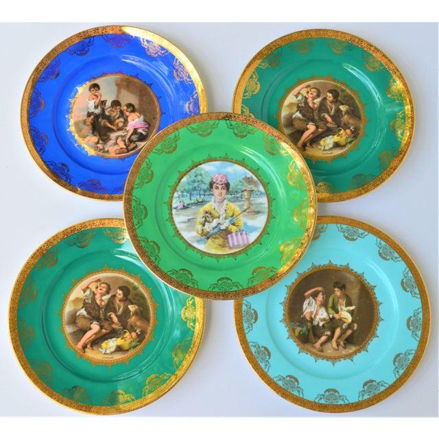 Antique Josef Kuba Jkw Bavaria Porcelain Plates - Set of 5 For Sale - Image 4 of 11