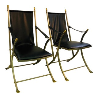 1960s Vintage Maison Ramsay Directoire Folding Chairs- A Pair For Sale