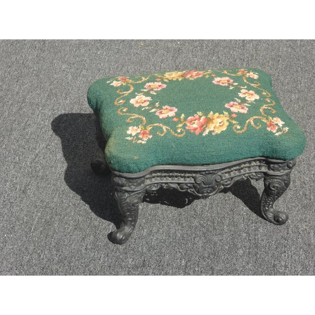 Vintage French Provincial Green Needlepoint Footstool Ornate Iron Base Gorgeous Footstool in Great Vintage Condition....