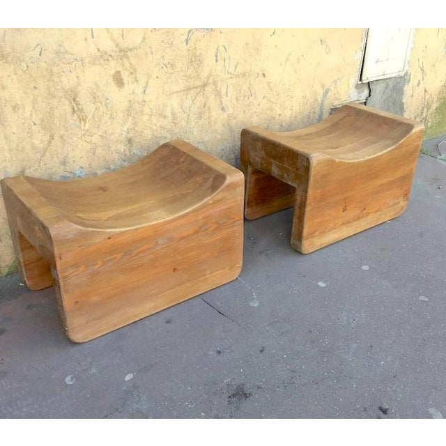 1950s Axel Einar Hjorth Rare Pair of Stools Model Uto in Vintage Condition For Sale - Image 5 of 5