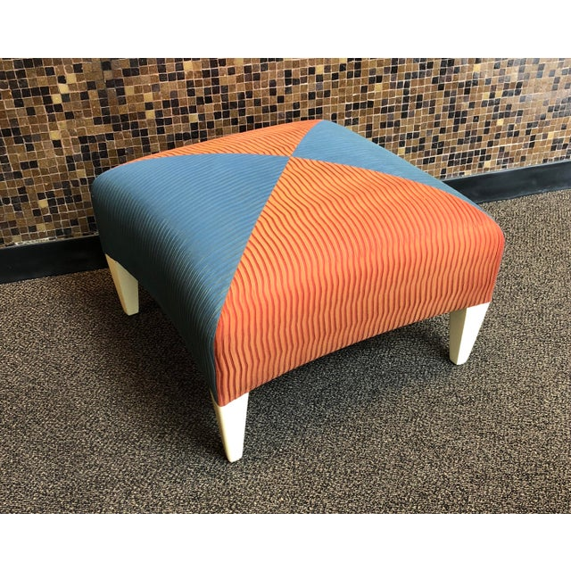 Blue Donghia Square Ottoman For Sale - Image 8 of 8