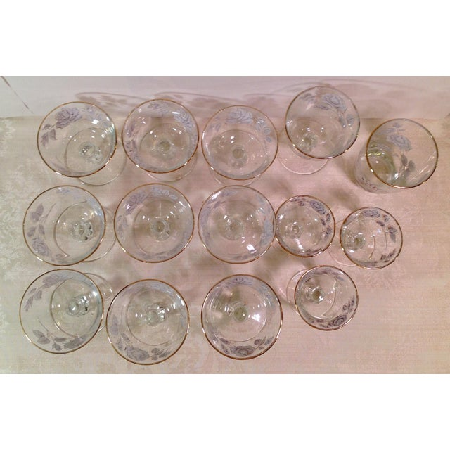 Glass Mid-Century White Rose & Gold Glasses - Set of 14 For Sale - Image 7 of 7