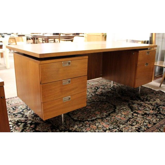 Mid-Century Modern 1950s Mid Century Modern George Nelson Herman Miller Walnut Desk & Credenza - 2 Pieces For Sale - Image 3 of 13