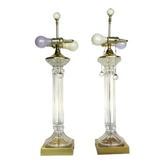 Hollywood Regency Cut Glass 2 Light Lamps - a Pair For Sale