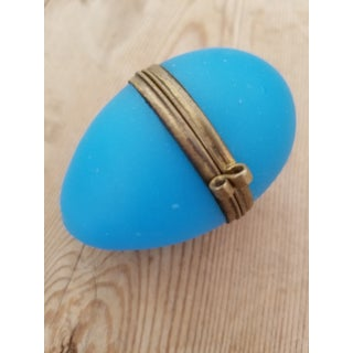 Blue Opaline Egg Shaped Glass Box Preview