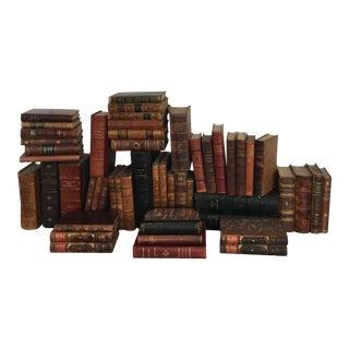 Vintage Leather Books - Set of 50 For Sale