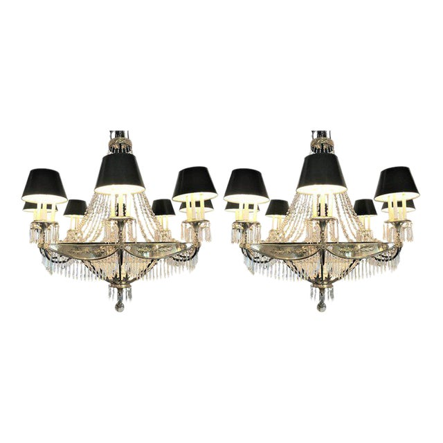 A Pair of Art Deco Palatial Eight Arm Ebony and Brass Chandeliers w Shades For Sale - Image 12 of 12