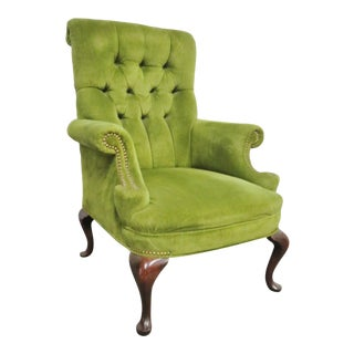 Queen Anne Mahogany Green Tufted Wing Chair For Sale